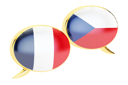 Speech bubbles, Czech-French translation concept. 3D rendering