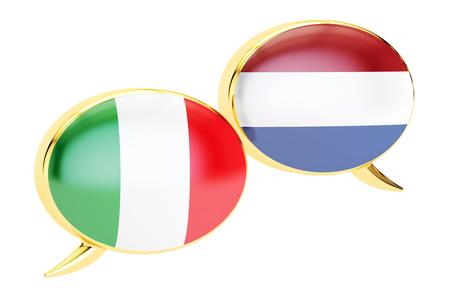 Speech bubbles, Italian-Dutch translation concept. 3D rendering