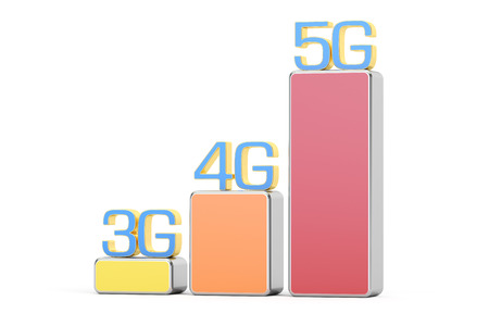 3g: 3G, 4G, 5G concept, 3D rendering  isolated on white background Stock Photo