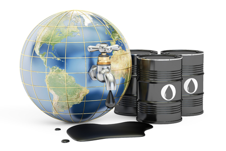 reusing: Earth globe squeezing oil through a tap, 3D rendering isolated on white background