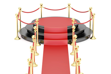 Empty black podium with red carpet and barrier rope, 3D rendering isolated on white background Stock Photo