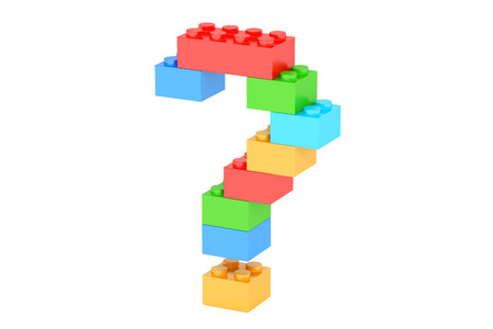 Question mark from plastic building blocks, 3D rendering isolated on white background Stock Photo