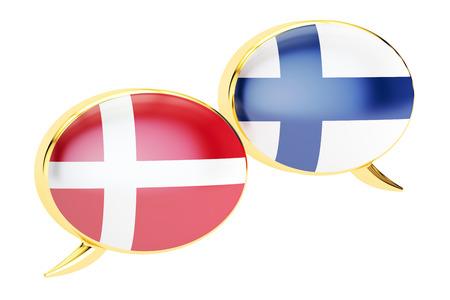danish flag: Speech bubbles, Danish-Finnish translation concept. 3D rendering