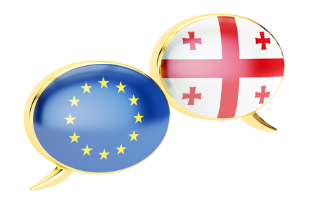 georgia: Speech bubbles, EU-Georgia conversation concept. 3D rendering isolated on white background Stock Photo