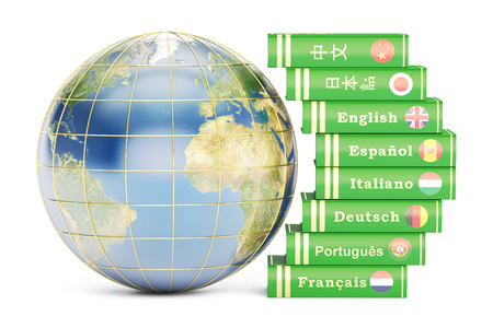 dictionaries: E-learning concept, dictionaries with Globe. 3D rendering isolated on white background