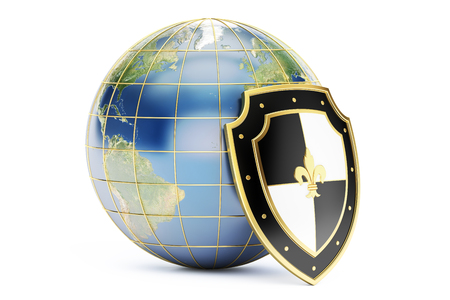 protect concept: earth with shield, protect concept. 3D rendering isolated on white background Stock Photo