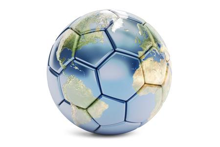 Concepto del fútbol, ??representación 3D aislada en el fondo blanco Foto de archivo - 64714074