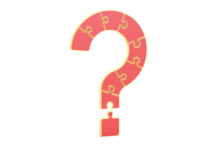 Red Question Mark Puzzle, 3D rendering isolated on white background Stock Photo