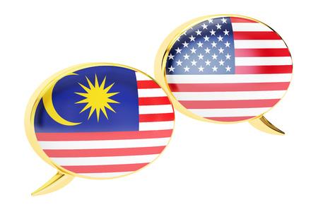 Speech bubbles, Malaysia-USA conversation concept. 3D rendering