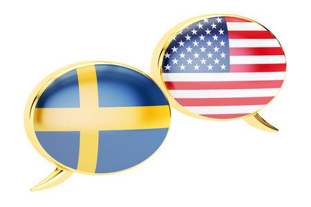 Speech bubbles, Sweden-USA conversation concept. 3D rendering