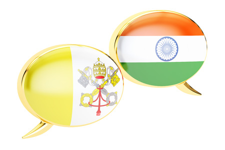 Speech bubbles, Vatican-India conversation concept. 3D rendering Stock Photo