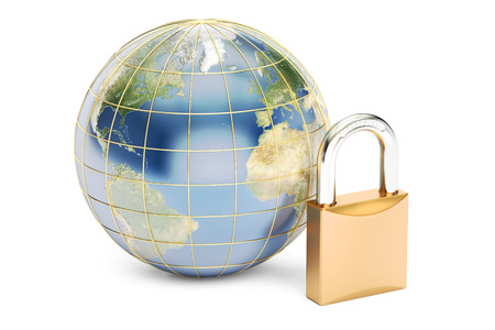 protect concept: earth with padlock, protect concept. 3D rendering isolated on white background