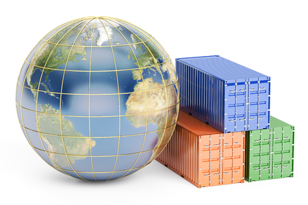 Global cargo shipping concept, 3D rendering isolated on white background Stock Photo