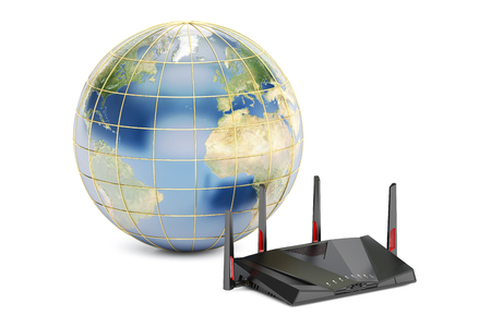 cyberspace: global networking connection concept, earth with modern router. 3D rendering isolated on white background