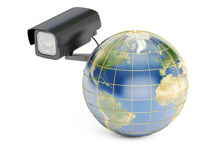 global security: Global security system concept, earth with security camera. 3D rendering