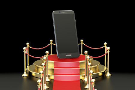 Podium with smartphone, 3D rendering isolated on black background
