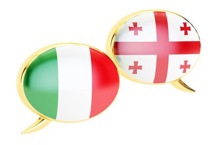 Speech bubbles, Georgian-Italian translation concept. 3D rendering