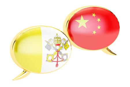 Speech bubbles, Vatican-China conversation concept. 3D rendering