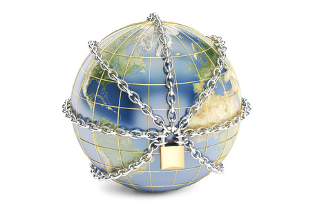 Earth globe close in chain, security concept. 3D rendering isolated on white background Stock Photo