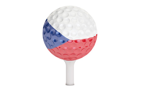 golf ball on a tee with flag of Czech Republic, 3D rendering isolated on white background