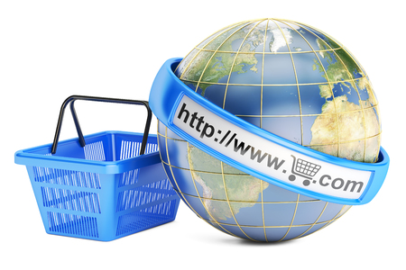 Shopping basket with globe, online shopping concept. 3D rendering isolated on white background