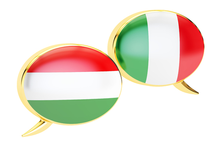 Speech bubbles, Italian-Hungarian translation concept. 3D rendering Stock Photo