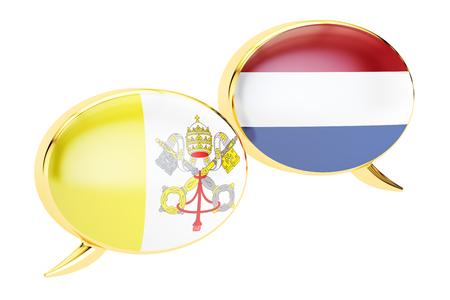 Speech bubbles, Vatican-Netherlands conversation concept. 3D rendering Stock Photo