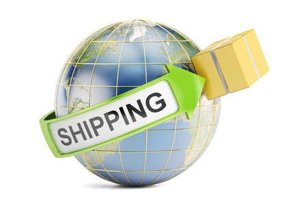 Global shipping and delivery concept, 3D rendering isolated on white background