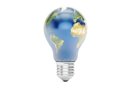 reusing: light bulb with earth, save energy concept. 3D rendering isolated on white background Stock Photo