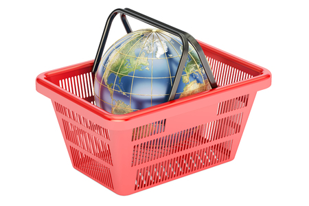 Shopping basket with globe, global shopping concept. 3D rendering isolated on white background
