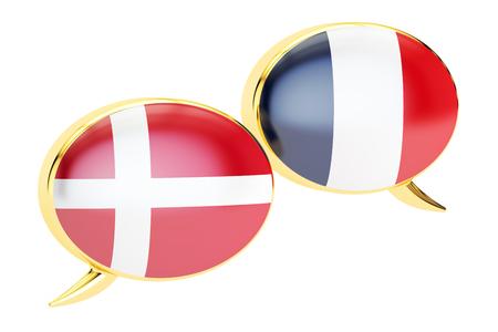 danish flag: Speech bubbles, Danish-French translation concept. 3D rendering