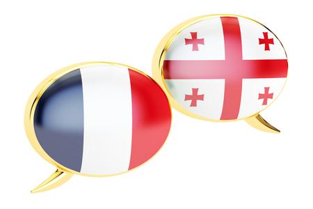 Speech bubbles, Georgian-French translation concept. 3D rendering Stock Photo