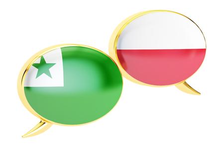 Speech bubbles, Polish-Esperanto translation concept. 3D rendering