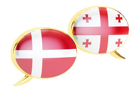 Speech bubbles, Georgian-Danish translation concept. 3D rendering