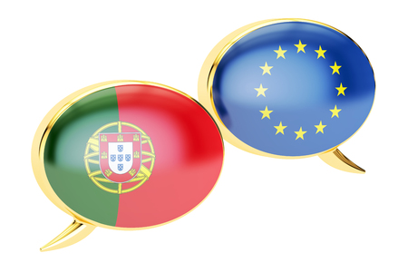 Speech bubbles, EU-Portugal conversation concept. 3D rendering isolated on white background
