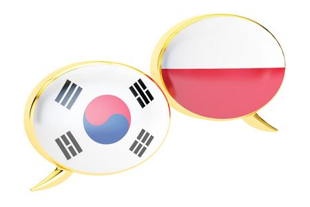 Speech bubbles, Polish-Korean translation concept. 3D rendering