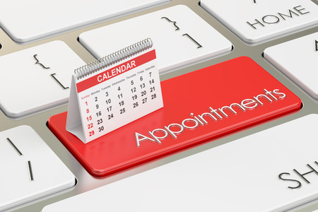 appointments: Appointments concept with calendar on the keyboard, 3D rendering
