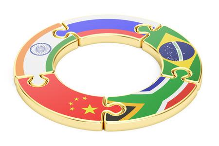 asociacion: concepto cumbre BRICS, representación 3D aislada en el fondo blanco