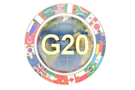 Summit G20 concept with globe, 3D rendering isolated on white background