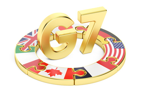 security council: G7 puzzle concept, 3D rendering isolated on white background