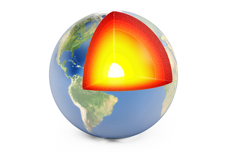 burn out: structure of earth planet concept, 3D rendering isolated on white background Stock Photo