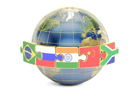 BRICS-topconcept met aarde, het 3D teruggeven op witte achtergrond wordt geïsoleerd die