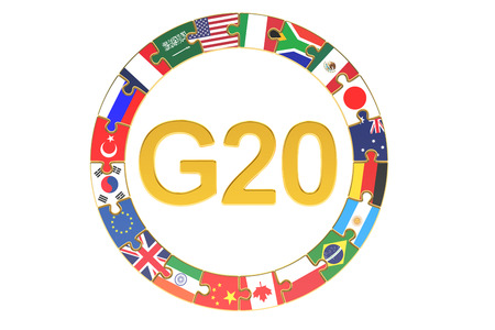 G20 concept, 3D rendering isolated on white background
