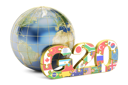 G20 concept with globe, 3D rendering isolated on white background