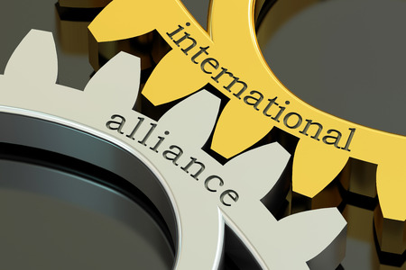 reciprocity: International Alliance concept on the gearwheels, 3D rendering