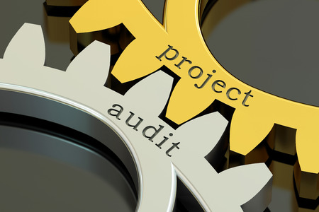 financial advisors: Project Audit concept on the gearwheels, 3D rendering