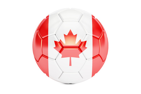 football ball with flag of Canada, 3D rendering