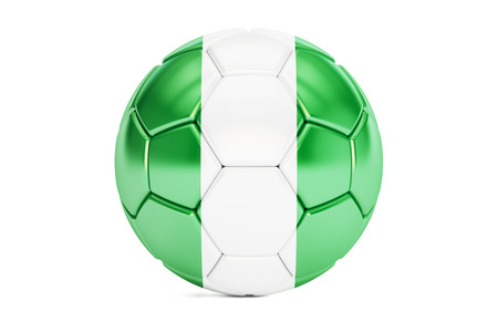 country nigeria: football ball with flag of Nigeria, 3D rendering