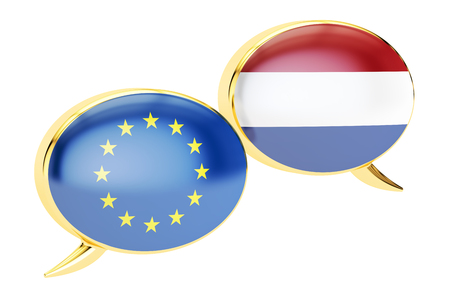 Speech bubbles, EU-Netherlands conversation concept. 3D rendering isolated on white background