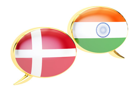 Speech bubbles, Indian-Danish translation concept. 3D rendering Stock Photo